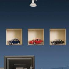 3D Effect Model Car Wall Decal (3-Piece Set)