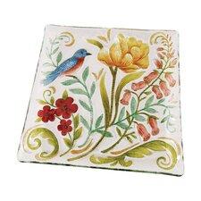 "Embroidered Garden Bluebird 14"" Square Glass Platter (Set of 2)"