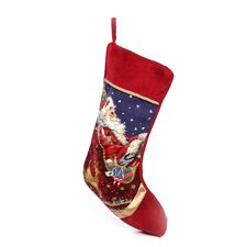 Santa with Sleigh Needlepoint Stocking