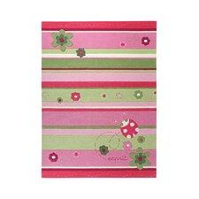 Ladybird Pink / Green Kids Rug