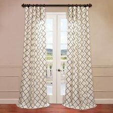 Pavillion Flocked Faux Silk Curtain Single Panel