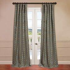 Filigree Flocked Faux Silk Curtain Single Panel