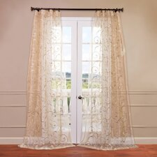 Bella Embroidered Sheer Curtain Single Panel