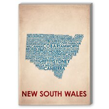 New South Wales Textual Art on Canvas