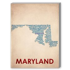 Maryland Textual Art on Canvas