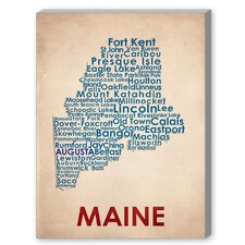 Maine Textual Art on Canvas