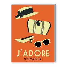 J'Adore Voyage Vintage Advertisement on Canvas