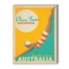 Dive into Sunshine Australia Vintage Advertisement on Canvas