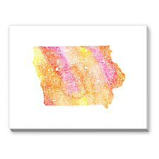 Iowa Orange Water Textual Art on Canvas