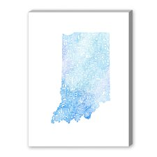Indiana Blue Water Textual Art on Canvas