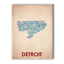 Detroit Textual Art on Canvas