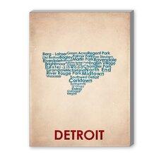 Detroit Textual Art on Canvas