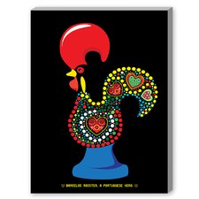 Portuguese Rooster Graphic Art on Canvas in Black