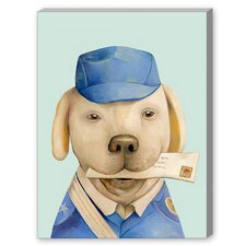 Mail Dog Graphic Art on Canvas