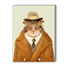 Detective Cat Graphic Art on Canvas