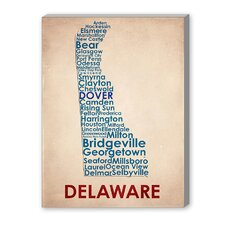 Delaware Textual Art on Canvas