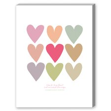 Love Thee Hearts Graphic Art on Canvas in White