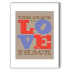 Love Shack Textual Art on Canvas on Red and Blue