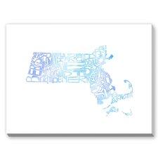 Massachusetts Blue Water Textual Art on Canvas