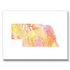 Nebraska Orange Water Textual Art on Canvas