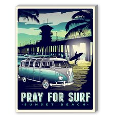 Pray For Surf Vintage Advertisement on Canvas