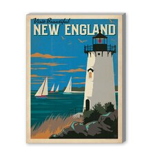 Coastal New England Lighthouse Vintage Advertisement Graphic Art