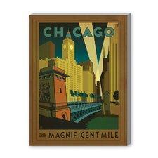 Chicago: Magnificent Mile Vintage Advertisement on Canvas