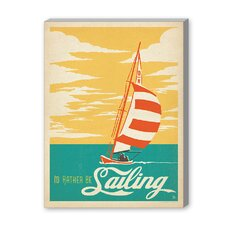 Coastal I'd Rather Be Saling Vintage Advertisement on Canvas