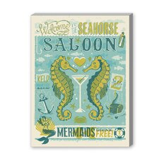 Coastal Seahorse Saloon Vintage Advertisement on Canvas