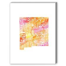 New Mexico Orange Water Textual Art on Canvas