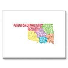 Oklahoma Regions Textual Art on Canvas
