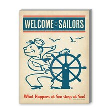 Coastal Sailors Welcome Vintage Advertisement Graphic Art