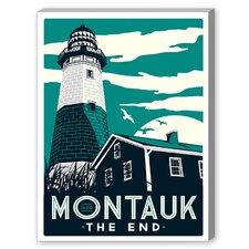 Montauk Lighthouse Vintage Advertisement on Canvas