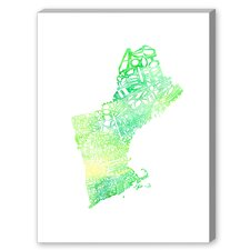 New England Green Water Textual Art on Canvas