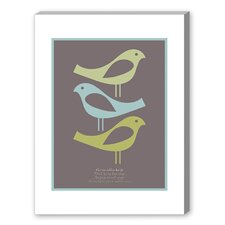 Three Little Birds Graphic Art in Brown