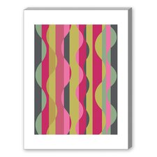 Wave Graphic Art on Canvas in Pink