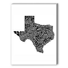 Texas Textual Art on Canvas