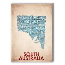 South Australia Textual Art on Canvas