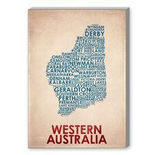 Western Australia Textual Art on Canvas