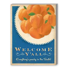 Welcome Yall Peaches Graphic Art on Canvas