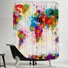 Polyester World Map Shower Curtain