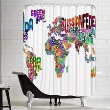 Polyester World Map Word Shower Curtain