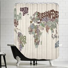 Polyester World Map Word 2 Shower Curtain