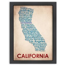 Typography Maps California Poster