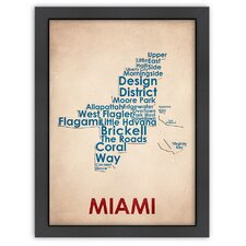 Typography Maps Miami Poster
