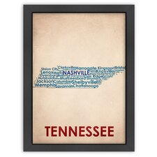 Typography Maps Tennessee Textual Art