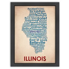 Typography Maps Illinois Poster