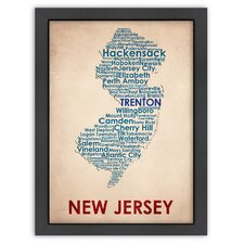 Typography Maps New Jersey Textual Art