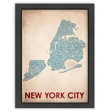 Typography Maps New York City Textual Art