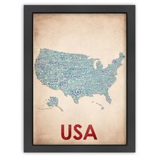 Typography Maps USA Poster